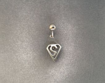 belly button ring Superman Sign