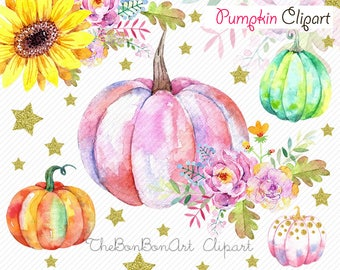 Pumpkin watercolor clipart, Pumpkin clipart,  Autumn clipart, Halloween clipart, orange Leaves, fall clipart, kids party clipart. digital