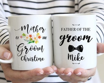 Father and Mother of the Groom Gifts, Personalized Wedding Mugs, Wedding Gifts for Parents of Bride and Groom