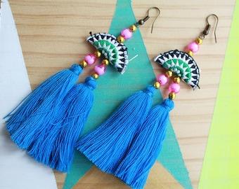 Boucles d'oreilles Ethnique chic en tissu| léger à porter | Joli bijou fait main | 2017 | Cadeau mignon pour elle Pour tous les jours