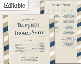 Baptism Program, Editable PDF, Printable Digital Handout boy Baptism, blue beige, Boy Baptism, Boy Program Template, Instant Download