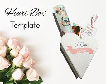 September 2017 Visiting Teaching Heart Box Template, Printable, Instant Download, heart box template