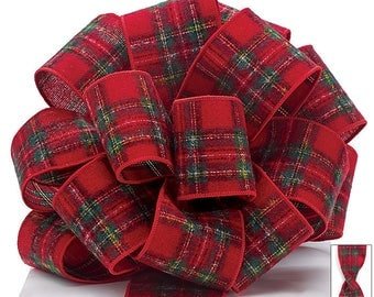 Christmas Ribbon, Red Flannel Plaid Christmas Ribbon, Holiday Ribbon, Reversible Red Plaid Ribbon , Wreath Ribbon, Tree Ribbon