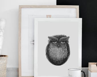 Owl illustration, decor, pencil drawing, wall prints, home decor, illustration print, charcoal drawing