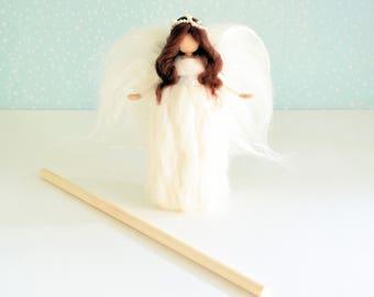Topper tree angel, Waldorf inspired wool angel, White wool angel, Christmas tree angel,Felted angel, Christmas decoration, Nativity angel,