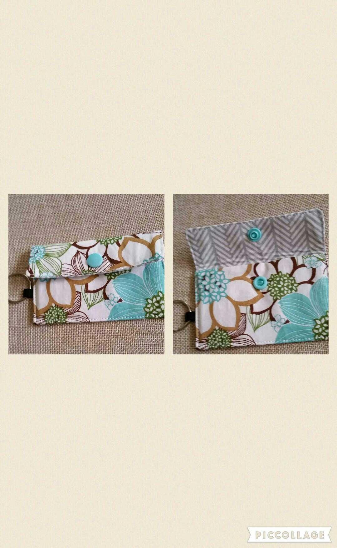 Business card wallet/ credit card wallet with a keyring 5 ...
