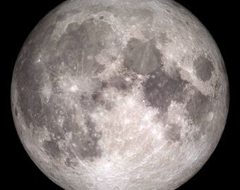 Full Moon Print from Christmas Day, NASA Space Photography, Museum Quality Photo Art Print
