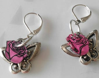 Earrings pink shrink plastic and butterfly.