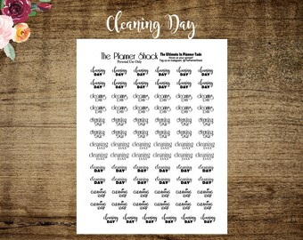 Cleaning Day | Cleaning Day Script | Printable Planner Stickers | Planner Printables | Script | Printable