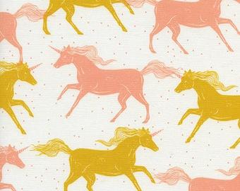 Cotton + Steel – Magic Forest by Sarah Watts, Unicorns - Yellow