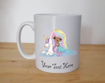 Mermaid and A Unicorn, Beautiful Pastel Unicorn Mermaid Mug Can Be Personalised.