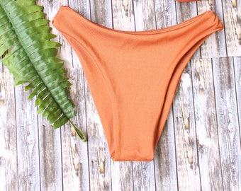 Solid Copper rust burnt orange cheeky bikini bottoms Brazilian Swimwear Handmade Basic Swimsuit Womens Bathing Suit Seamless Cheeky Bikini