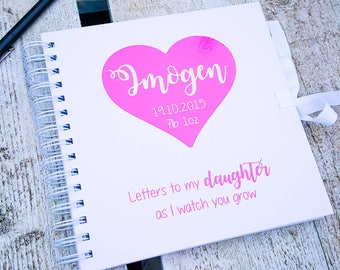 Letters to my daughter / son as I watch you grow, personalised baby book, notebook journal, new baby mum gift, baby shower gift, scrapbook
