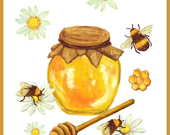 Honey Bee Digital Print Poster Comb Wall Art Kitchen