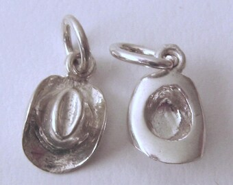 Genuine SOLID 925 STERLING SILVER Cow Boy Hat charm/pendant