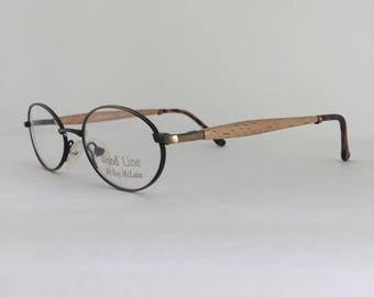 wood line 2008s vintage eyeglasses antique bronze frame genuine light brown wood temples - Wooden Eyeglass Frames