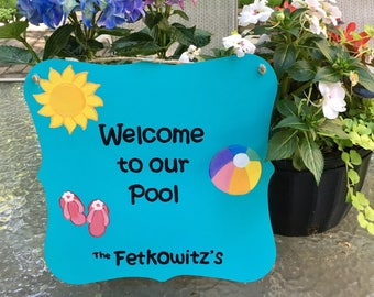 Painted Pool Sign, Welcome to Our Pool, Personalized Pool Sign, Hand Painted Pool Sign, Custom Tin Sign, Original Pool Signs, Welcome Sign