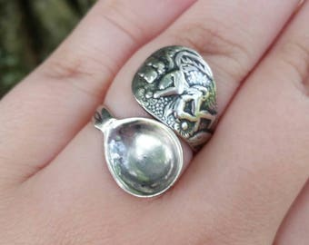 Vintage Sterling Silver Cherub Spoon Ring