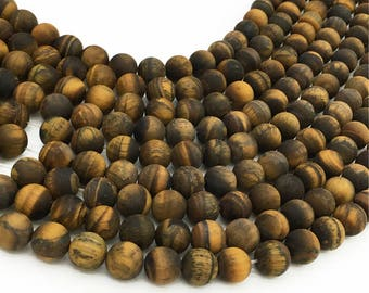 1Full Strand Matte Tiger Eye Round Beads  6mm 8mm 10mm Wholesale Gemstone for Jewelry Making
