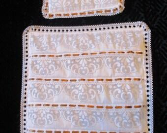 Handmade Dolls Lace Blanket & Pillow Set