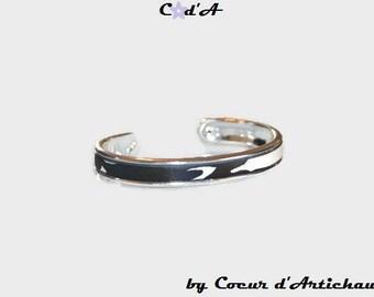 Bangle silver and leather bracelet black beige and khaki