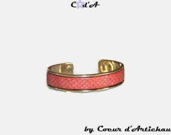 Bracelet Bangle gold and pink effect leather snakeskin