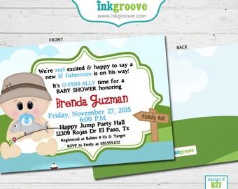 Fishing Baby Shower Invitations - Fisherman Baby Shower - Baby Boy Shower Invitations - Printed Invitations