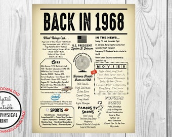 1968 The Year You Were Born, 50th Birthday Poster Sign, Back in 1968 Newspaper Style Poster, Printable, 1968 Facts, 50 years ago