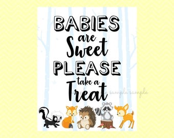 Babies are Sweet Please Take a Treat Sign, Babies are Sweet Table Sign, Printable, Baby Shower Party, Woodland Design style