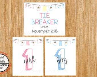 Tie Breaker Pregnancy Announcement Sign, Pregnancy Reveal, Printable, Pink or Blue, Instant Download, Boy and Girl Sign, due November 2018