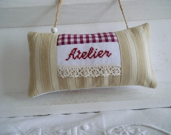 Fabric and embroidery workshop door panel cross-stitch - embroidered door ticking and red gingham - decorative pillow cushion
