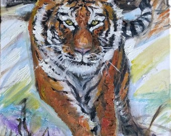 "Original Oil Painting, Tiger in Snow, 16""x12"", 1708307,"