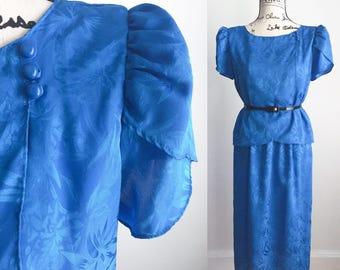 Vintage 80s Dress, Blue Vintage Dress, 80s Dress, 1980s Dress, Long Blue Vintage Dress, Vintage Midi Dress
