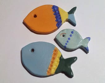 Fish hanging ceramic, sold by three