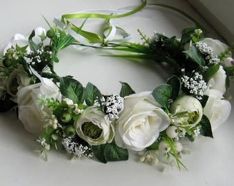 White Floral crown Flower headband Hair Vine Bridal headband  Flower crown Flower wreath Hair band Headwear Festival Garland Wedding circlet