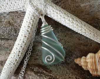 Handmade in Hawaii, wire wrapped Seafoam  sea glass necklace, Sterling silver chain, gift box.Hawaiian beach glass jewelry.