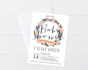 Floral Wreath Baby Shower Invitation | DIY Printable Gender Neutral Baby Shower Invitation