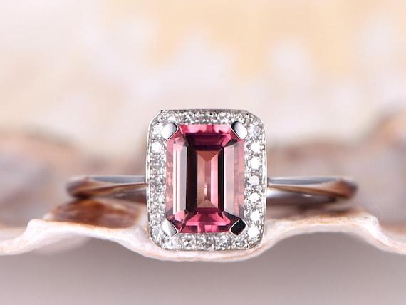 Tourmaline engagement ring,14k white gold ring,1.17ct pink emerald cut tourmaline ring,bridal ring,promise ring,wedding ring,clarity VVS