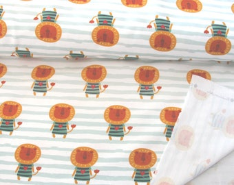 Lion baby clothing fabric, french terry, tricot, Lion, mint green, oeko-tex