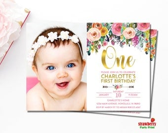 Floral 1st Birthday Invitation. Girl First Birthday Invitation. Floral Birthday Invitation. Customize Printable Invitation. A15 A54 A55