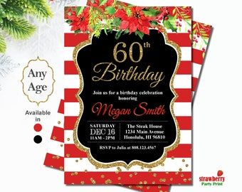 60th Birthday Invitations for Women, Christmas Birthday Invitation, Floral Birthday Invitation, Customize Printable File, A57