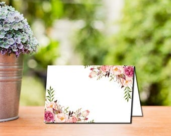 Boho Place Cards Template,  Pink Floral Label Cards, Food Tents, Bridal Shower, Birthday, Wedding, Baby Shower, Instant Download