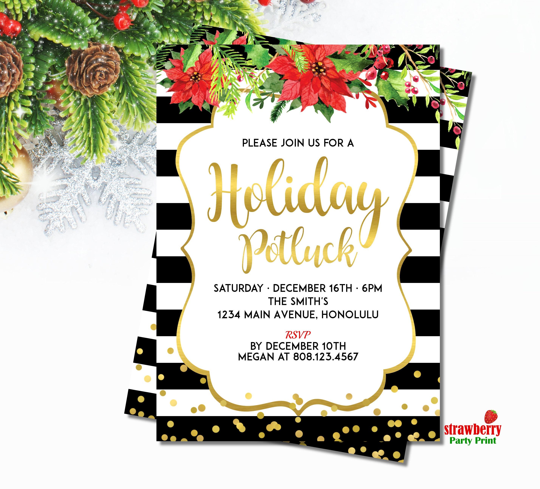 Christmas Potluck Invitation Holiday Potluck Invitation