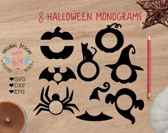 Halloween monograms, pumpkin monogram, bat monogram, ghost monogram, witch hat monogram, Halloween svg, Halloween monogram bundle eps, svg