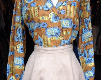 1950s abstract print cotton blouse