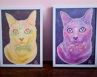 Rainbow Galaxy Space Cat Handmade Print