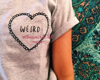 Weird Hand Embroidered Adult Kids T-Shirt Heart