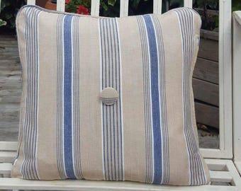 Blue and Beige Stripe Cushion Cover