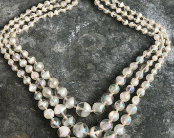 West Germany iridescent glass beaded triple-strand necklace
