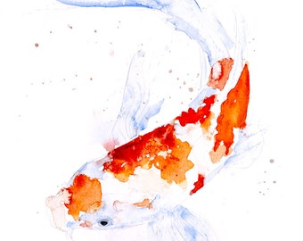 Koi fish painting etsy for Koi carp wall art